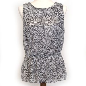 LOFT Sleeveless Animal Print Elastic Waist Top